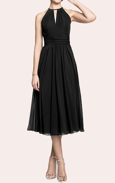 MACloth Halter Tea Length Chiffon Bridesmaid Dress Little Black Dress