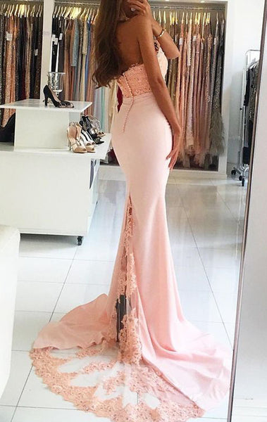 MACloth Mermaid Halter Lace Jersey Prom Dress Pink Formal Evening Gown
