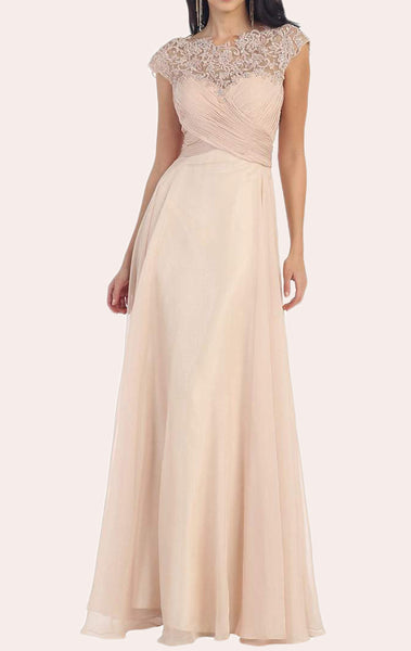 MACloth Cap Sleeves Lace Chiffon Mother of the Brides Dress Champagne Formal Evening Gown