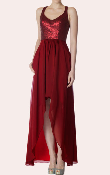 MACloth V Neck Sequin Chiffon High Low Bridesmaid Dress Burgundy Cocktail Formal Gown