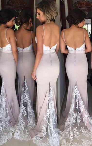 MACloth Mermaid Spaghetti Straps Long Bridesmaid Dress Pink Prom Formal Gown