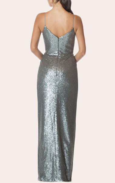 MACloth Spaghetti Straps Sequin High Low Bridesmaid Dress Gray Formal Gown