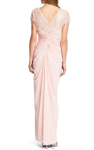 5bc3f7346b ... MACloth Cap Sleeves V Neck Lace Chiffon Evening Gown Pearl Pink Mother  of the Brides Dress