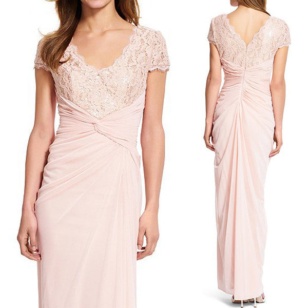 MACloth Cap Sleeves V Neck Lace Chiffon Evening Gown Pearl Pink Mother of the Brides Dress