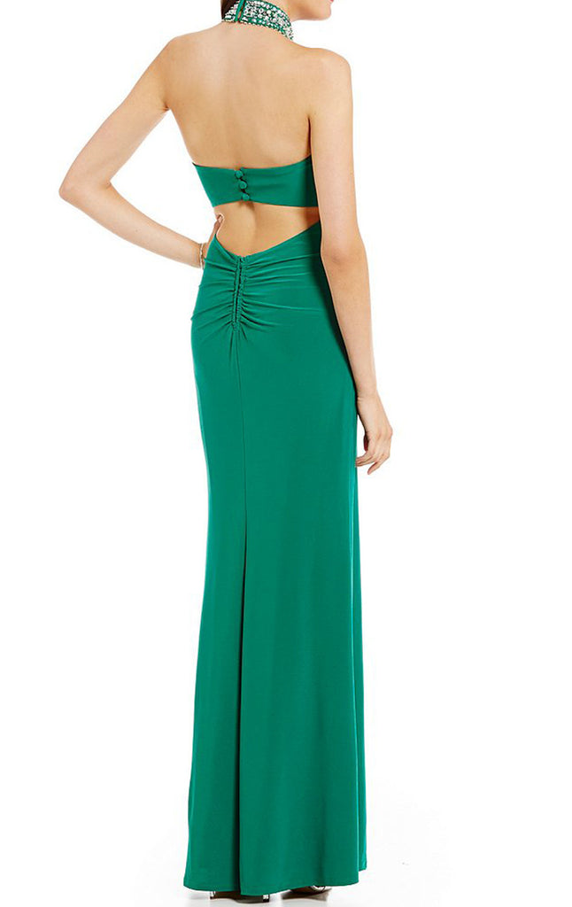 d5f17c7440f MACloth Halter High Neck Prom Dress Green Jersey Formal Evening Gown