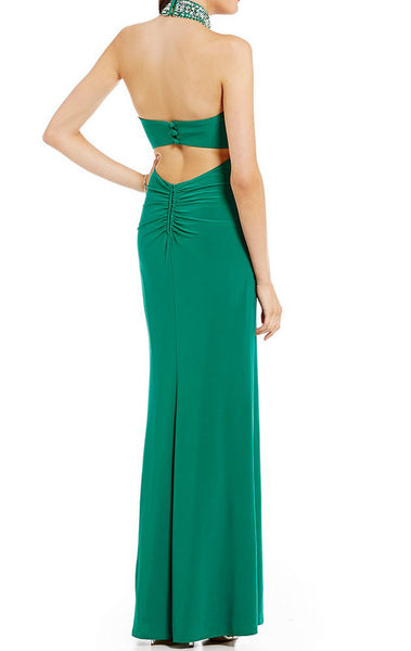 MACloth Halter High Neck Prom Dress Green Jersey Formal Evening Gown