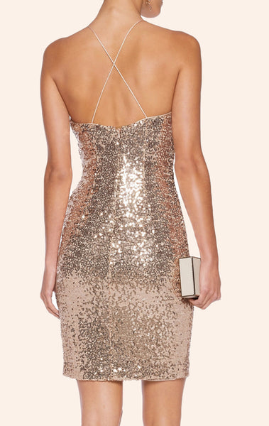 MACloth Halter Cowl Neck Sequin Cocktail Dress Mini Wedding Party Formal Gown
