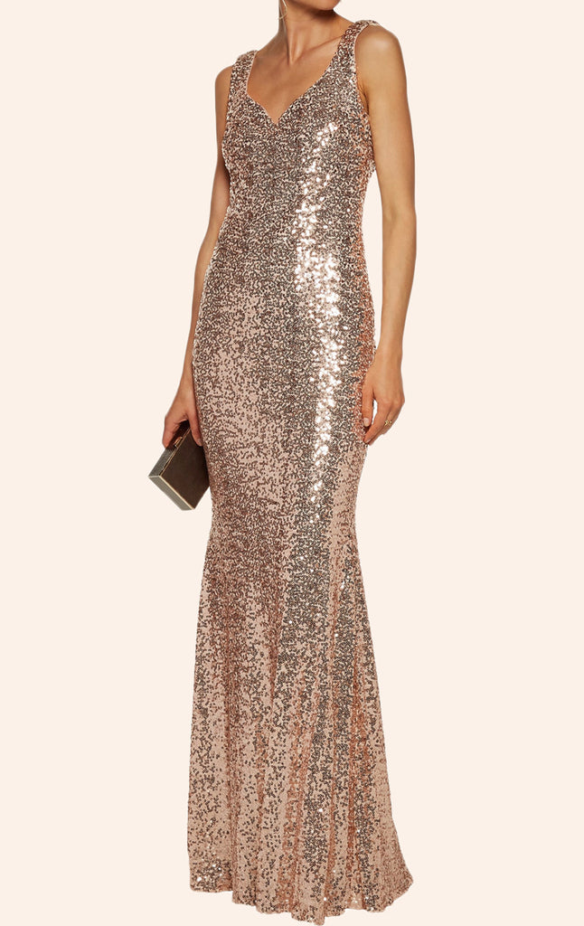 MACloth V Neck Sequin Formal Evening Gown Cowl Back Wedding Party Dress
