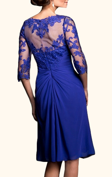 MACloth Half Sleeves V Neck Lace Chiffon Mother of the Brides Dress Royal Blue Cocktail Dress
