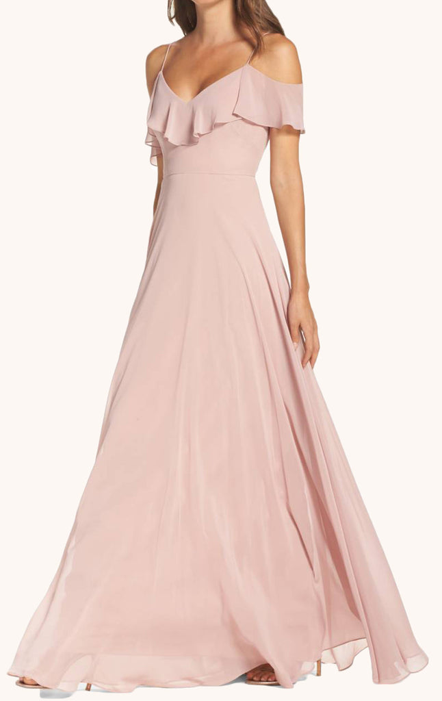 MACloth Off the Shoulder Chiffon Long Bridesmaid Dress Pearl Pink Formal Gown