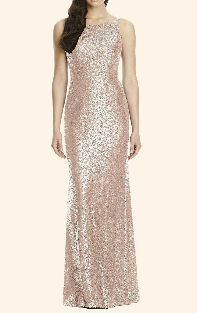 MACloth Sheath Sequin Long Bridesmaid Dress Rose Gold Wedding Party Formal  Gown
