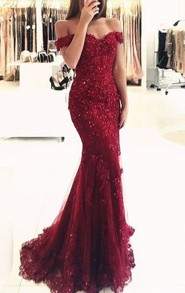 MACloth Mermaid Off the Shoulder Lace Prom Dress Burgundy Formal Evening Gown