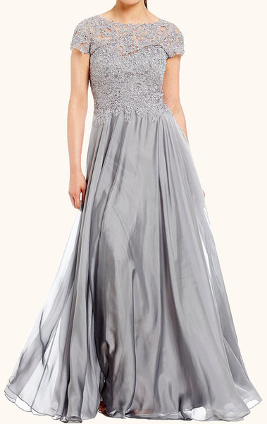 MACloth Cap Sleeves Lace Chiffon Mother of the Brides Dress Silver Formal Evening Gown