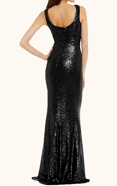 MACloth Cowl Neck Sequin Formal Evening Gown Black Mother of the Brides Dress
