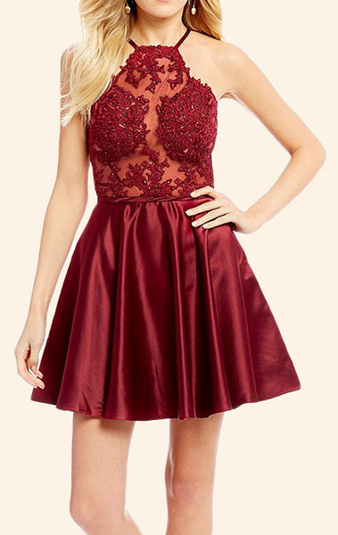 MACloth Halter Lace Satin Mini Prom Homecoming Dress Burgundy Formal Gown