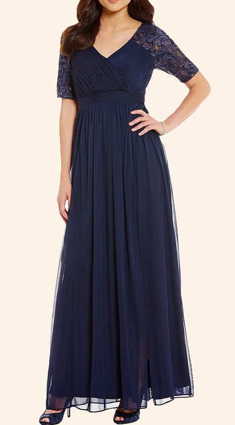MACloth Short Sleeves Lace Chiffon Long Mother of the Brides Dress Dark Navy Evening Gown