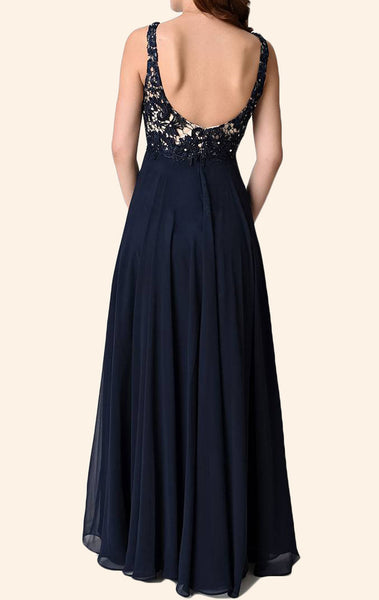 MACloth V Neck Lace Chiffon Long Bridesmaid Dress Dark Navy Simple Prom Gown