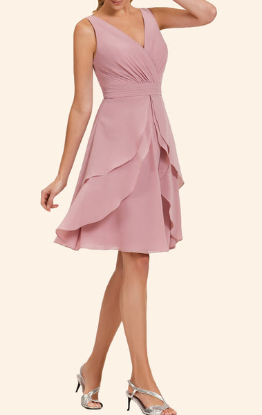 MACloth Straps V Neck Chiffon Short Bridesmaid Dress Pearl Pink Wedding Party Formal Gown