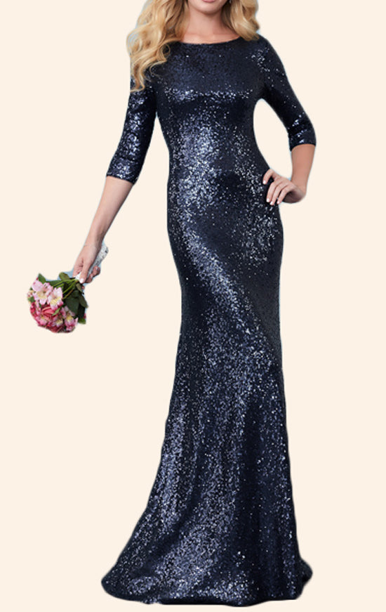 MACloth 3/4 Sleeves Sequin Mother of the Brides Dress Dark Navy Evening Gown