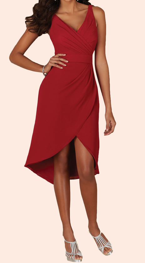 MACloth Deep V Neck Short Bridesmaid Dress High Low Red Wedding Party Dress