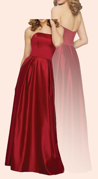 MACloth Strapless Satin Long Bridesmaid Dress Simple Prom Formal Gown