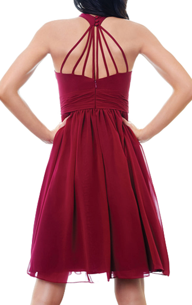 Macloth Halter High Neck Chiffon Short Bridesmaid Dress Wine Red Short