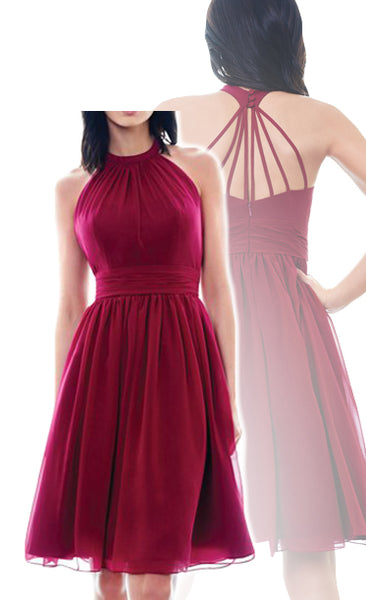 MACloth Halter High Neck Chiffon Short Bridesmaid Dress Wine Red Short Formal Gown