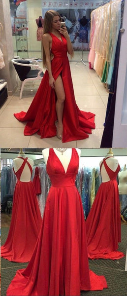 MACloth Sexy Deep V Neck Satin Long Prom Homecoming Dress Red Formal Gown
