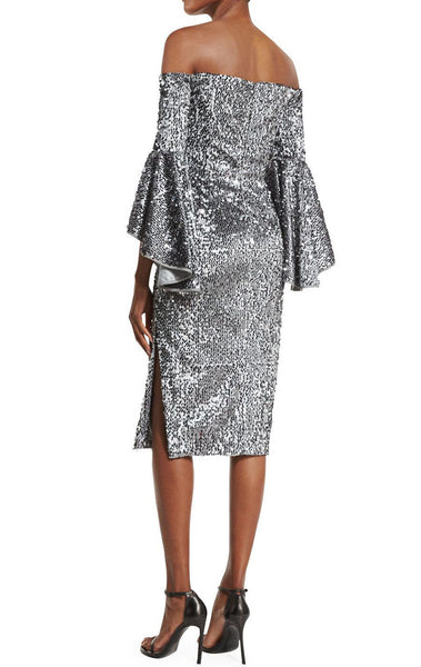 MACloth Off the Shoulder Sequin Cocktail Dress Gray Formal Gown