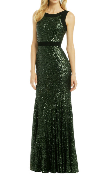 MACloth Sheath O Neck Sequin Long Formal Dress Simple Prom Gown