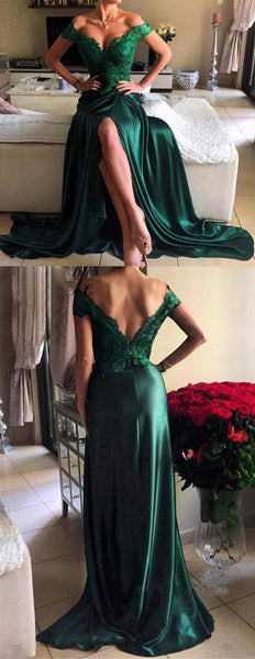 MACloth Off the Shoulder Lace Satin Long Prom Dress Dark Green Evening Gown