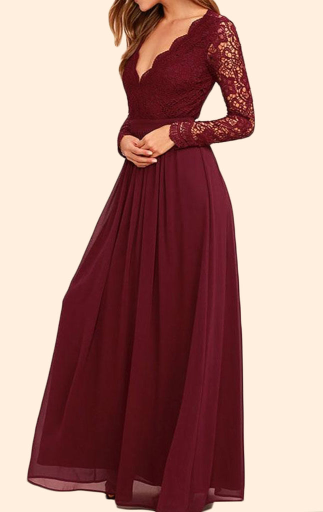 0a194c4ef4 MACloth Long Sleeves V neck Lace Chiffon Long Prom Dress Burgundy Even