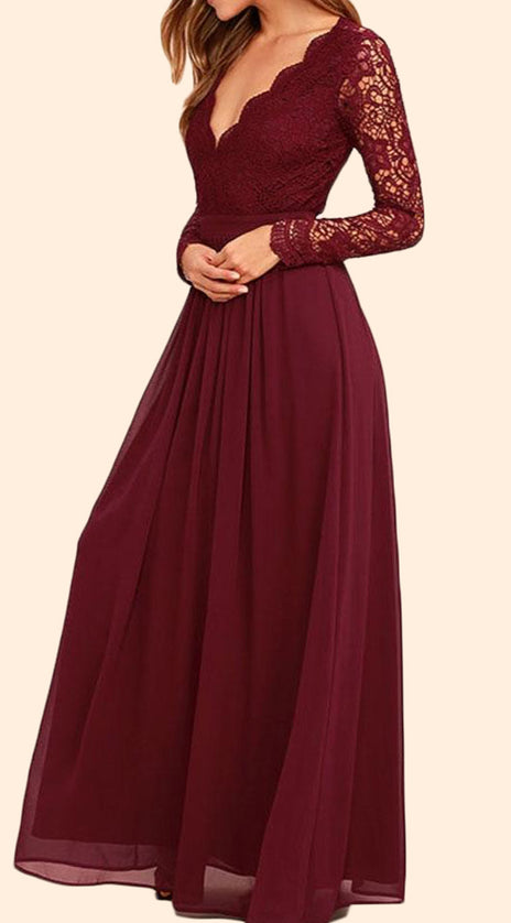 MACloth Long Sleeves V neck Lace Chiffon Long Prom Dress Burgundy Evening Formal Gown