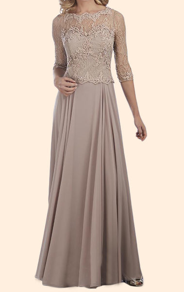 MACloth 3/4 Sleeves Lace Chiffon Long Mother of the Brides Dress Pewter Evening Gown