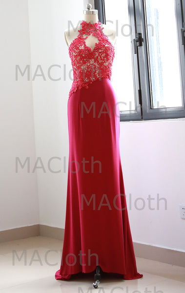 MACloth Halter Lace Jersey Long Prom Dress Fuchsia Evening Formal Gown