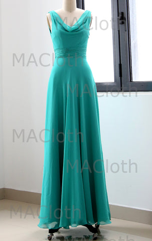 MACloth Straps Cowl Neck Turquoise Bridesmaid Dress Simple Prom Formal Gown