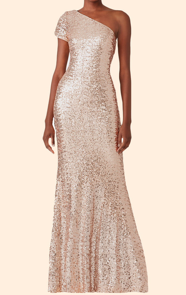 MACloth One Shoulder Sequin Long Bridesmaid Dress Rose Gold Simple Pro