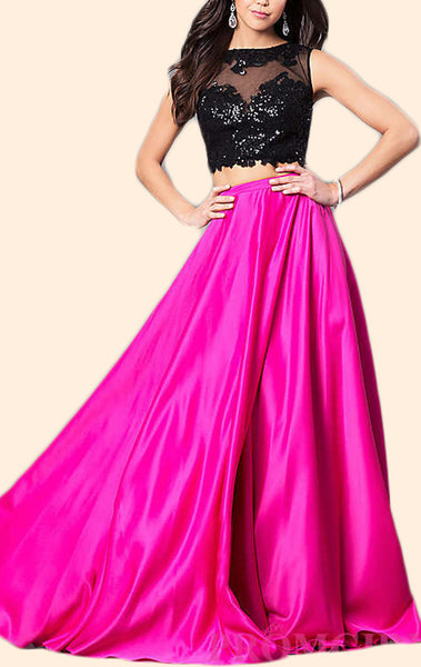 MACloth Two Piece Sequin Fuchsia Long Prom Dress 2018 Formal Evening Gown