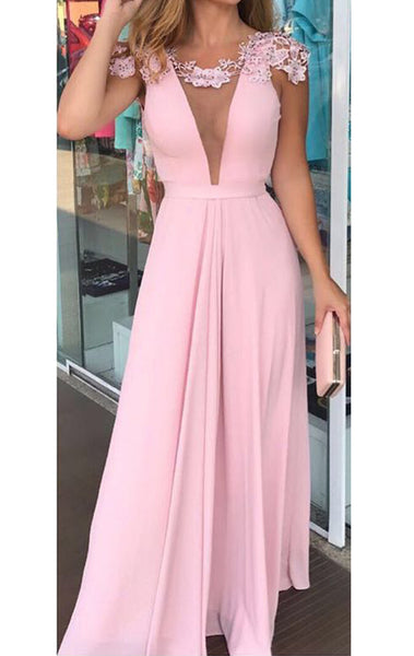 MACloth Cap Sleeves Deep V Neck Pink Long Prom Dress Vintage Wedding Party Dress