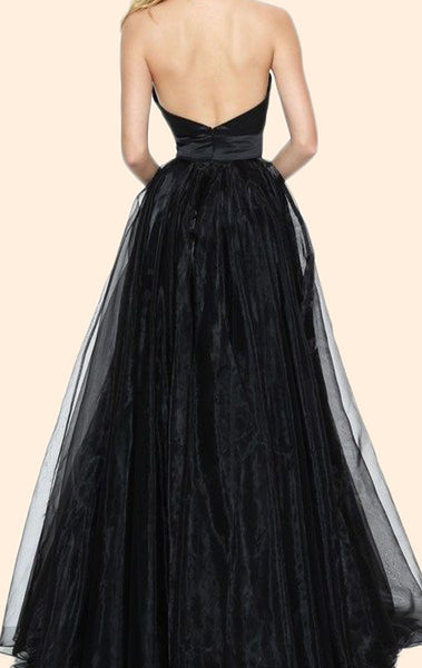 MACloth Halter V neck Black Long Prom Dress Vintage Formal Evening Gown