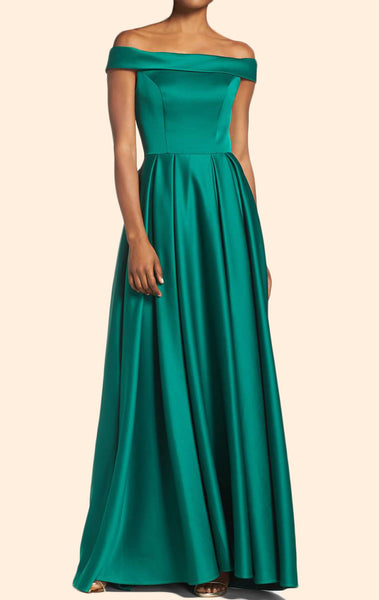 MACloth Off the Shoulder Satin Green Long Prom Dress Elegant Formal Evening Gown