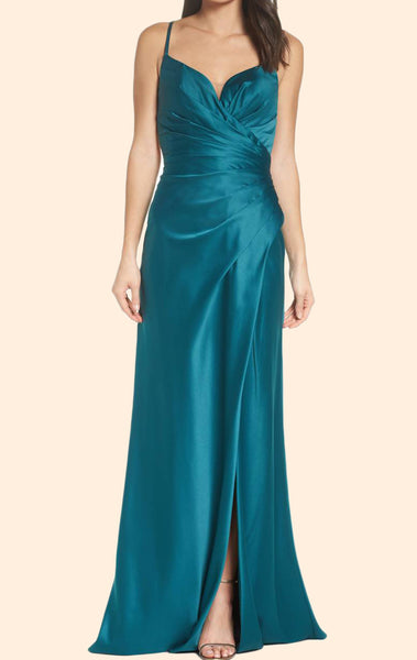 MACloth Straps V neck Teal Long Prom Dress Satin Evening Formal Gown