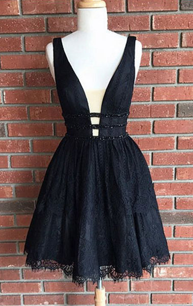 MACloth Deep V Neck Black Lace Short Prom Homecoming Dress Little Black Dress