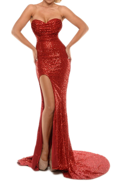 MACloth Mermaid Strapless Sweetheart Long Prom Dress Sexy Sequin Formal Gown