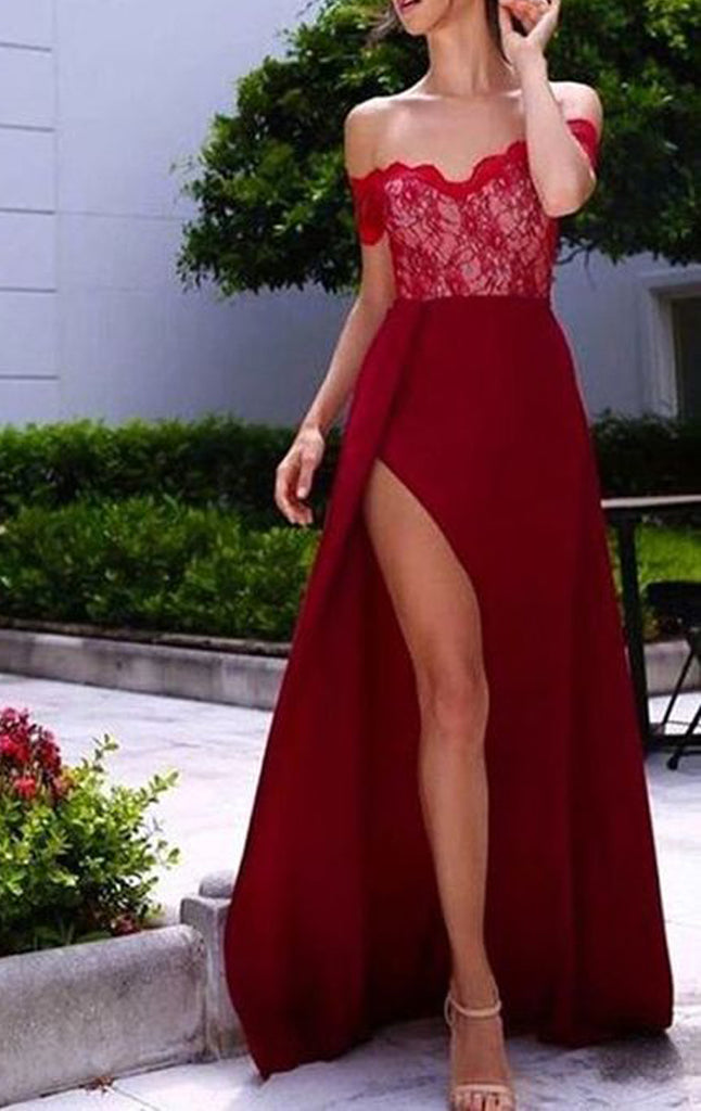 MACloth Off the Shoulder Lace Chiffon Long Prom Dress Burgundy Formal Gown