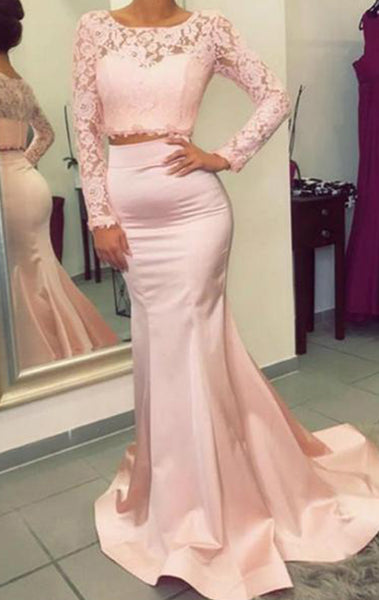 MACloth Two Piece Long Sleeves Lace Mermaid Prom Dress Pink Formal Evening Gown