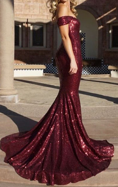 MACloth Off the Shoulder Mermaid Sequin Long Prom Dress Burgundy Formal Evening Gown