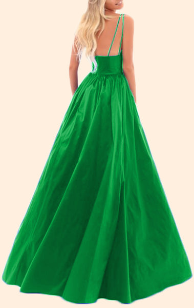 MACloth Straps V neck Satin Long Prom Green Dress Formal Evening Gown
