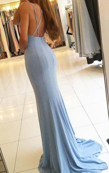 MACloth Halter V Neck Jersey Sky Blue Prom Dress Open Back Formal Evening Gown