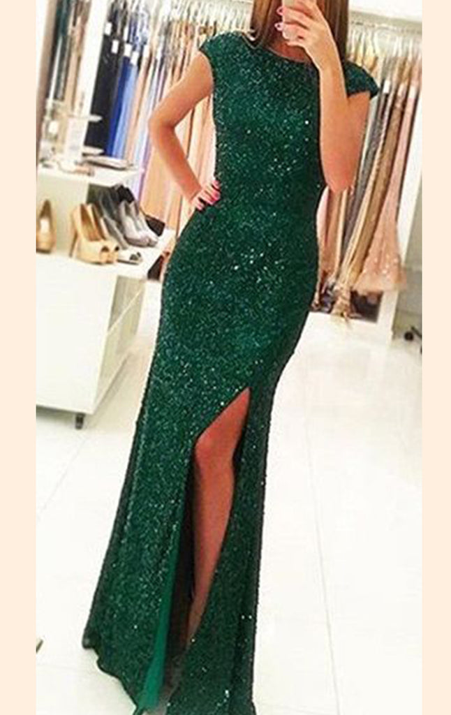 MACloth Cap Sleeves Sequin Long Prom Dress Green Formal Evening Gown